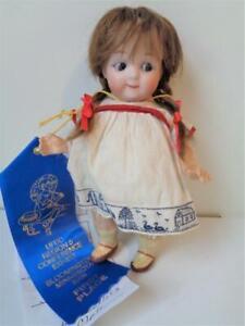 "Rare 6.5"" Antique Heubach Googly Eye Doll #9573 German Bisque Character Girl"