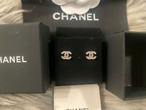 100% Authentic CHANEL Earrings Studs Crystal Silver Tone Small