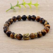 8mm Natural Tiger Eye Beads Buddha Head Women Men Yoga Energy Bracelets Gift
