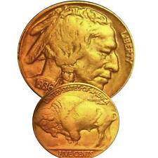 Buffalo Nickel with Date Gold Plated Encapsulated Date after Available 842759vvv