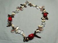 Beautiful Handmade Beaded Necklace - Coral - Quartz - Freshwater Pearl