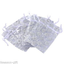 25pcs 7cmx9cm White Flowers Organza Gift Pouch Bags Wedding X-mas Favor