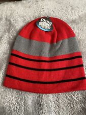 Pugs - Knit Striped Beanie - Red, Grey And Black