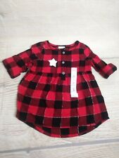 New! 24 Months Toddler Girls Buffalo Plaid Flannel Shirt Red & Black Christmas