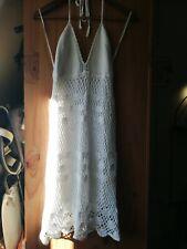 KATE MOSS TOPSHOP VINTAGE 60s 70s WHITE CROCHET DRESS BOHO FESTIVAL UK 12 US 8