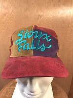 VTG Sioux Falls South Dakota Trucker Hat Cap Suede Baseball 1990s color block