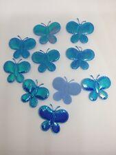 10 Bleu Rembourré Applique Motif Papillons pour craft et fabrication carte