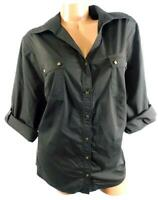 Avenue brown knit side panels plus roll up sleeve v-neck button down top  22/24