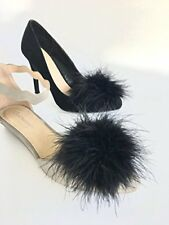 NEW Detachable BLACK Feather Pom Pom Shoe Clips Set of 2 FREE SHIPPING