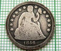 UNITED STATES 1856 P DIME - 10 CENTS, SEATED LIBERTY, PHILADELPHIA SILVER PATINA