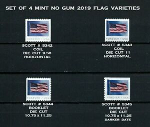 USA, SCOTT # 5342-5345, MINT NO GUM SET OF 4 VARIETY FLAGS YEAR 2019, PERFECT