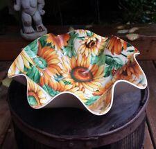 Tele-Fun NY Laminated Sunflower Ruffled Bowl Molded Round Serving Dish Chip Dip