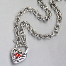 9K Solid White Gold Filled Thick Belcher Necklace With Shiny Stone Heart Locket