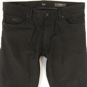Hommes HUGO BOSS 030 MAINE Regular Straight Élasthanne Noir Jeans W34 L32