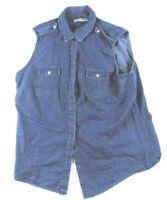A. Smith Marsh Landing Women Cotton 2 Pocket Blue Sleeveless Button Up Vest Sz L