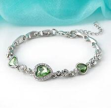Fashion Women Heart of Ocean Crystal Rhinestone Bangle Bracelet Elegant Jewelry
