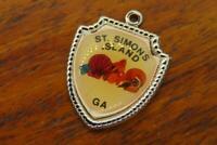 Vintage silver ST. SIMONS ISLAND GEORGIA STATE TRAVEL SHIELD charm #E36