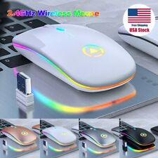 Slim Wireless Mouse Silent USB Mice 2.4GHz Rechargeable RGB For PC Laptop USA