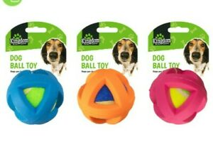 3 x plastic coated dog tennis ball toy plastic outer great fetch toy