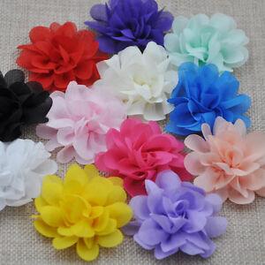 12PCS Large 5.5CM-6CM Organza Ribbon Bows Flowers Appliques Wedding A254