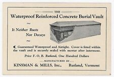Illustrated Business Trade Card - Waterproof Concrete Burial Vault, Rutland Vt