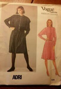 Vogue 1206 ADRI American Designer Dress Fabric Sewing Pattern Size 8 UC Vintage