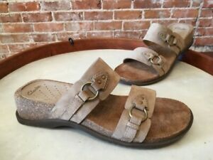 Clarks Taupe Nubuck Leather Monterey Double Strap Slide Sandal 8.5 NEW