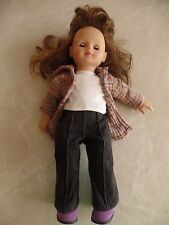 "Limited Edition Gotz Baby Girl Doll 16/120 brown hair & eye 18"" american Jeans"
