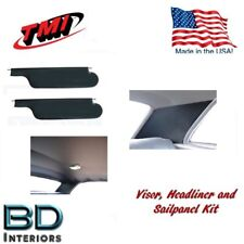 1970 Chevelle Coupe Headliner, Sailpanel and Visor Kit, Black Perforated Vinyl