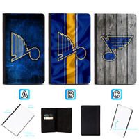 St. Louis Blues Passport Holder Travel PU Leather Cover Case ID Wallet