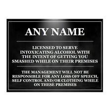 personalised funny Bar Sign Metal plaque man cave garage home pub garden bar