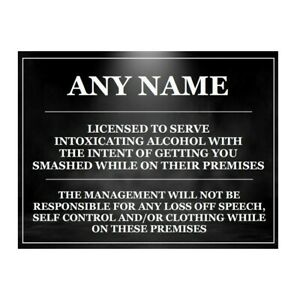 personalised fUNNY Bar Sign, Metal Tin sign plaque man cave shed garage home pub