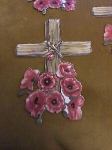 4 Tattered Lace Poppy Cross Flower Die Cut Sympathy Remembrance Decoupage Topper