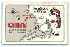 Cain's North Weymouth Massachusetts Ma Mr. Lobster Advertising Postcard