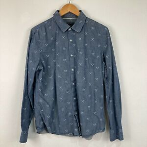 French Connection Mens Button Up Shirt Size M Blue Long Sleeve Slim 233.13