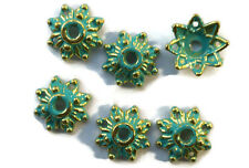#700BXA Patina Bead Caps Deco Flower Floral Gold Unique Artsy 8mm Antiqued Green