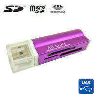 USB 2.0 All in One Memory Card Reader For : MICRO-SD SD TF SDHC M2 MMC - PURPLE