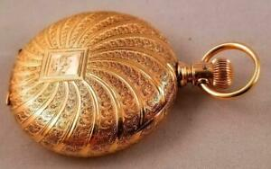 Heavy 14kt. Rose Gold Gents Waltham Hunting Case Pocket Watch Circa 1889, Exc