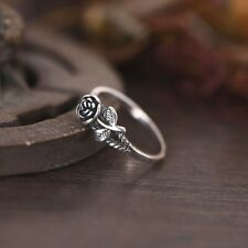 Vintage Rose Flower Engagement Wedding Ring 925 Silver Womens Jewelry Size 6-10