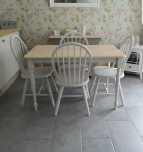 FARMHOUSE KITCHEN DINING TABLE AND 4 CHAIRS GREY RECTANGLE