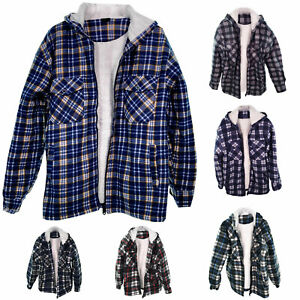 Mens Padded Sherpa Fur Lined Lumberjack Hooded Flannel Work Quilted Gents Shirt