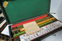 Vintage 1950s Cardinal Mah Jongg Set 5 Bakelite Racks 152 Tiles Felt Lined Case
