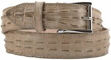 Sand Western Cowboy Leather Crocodile Alligator Tail Belt Silver Buckle