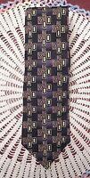 Jones New York Mens Necktie Tie 100% Silk Black Gold Dk Red Gometric Pattern New