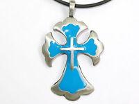Celtic Cross Pewter Irish Tribal Blue Druid Charm Pendant & Pvc Choker Necklace