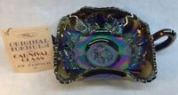 Fenton Art Glass Two Handle Butterfly Bon Bon Dish Amethyst Carnival