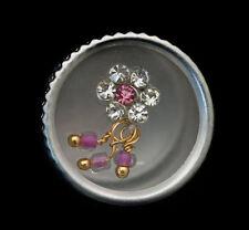 Bindi fleur rose bijoux de peau front ht de gamme strass 13 mm  ING E 2406