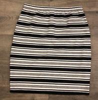Max Studio Womens Pencil Skirt Size M Medium Black White Striped Pull On Casual