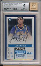 Lonzo Ball Lakers 2017-18 Contenders Draft RC Playoff Ticket Auto 3/15 BGS 9