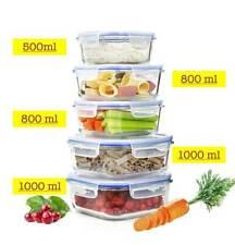 10tlg. Frischhaltedosen 2x1L 2x800ml1x500ml Glas Lunchbox Vorratsdosen Brotdose